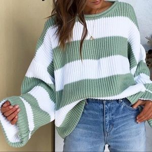 Oversized Green and Vanilla Striped Sweater
